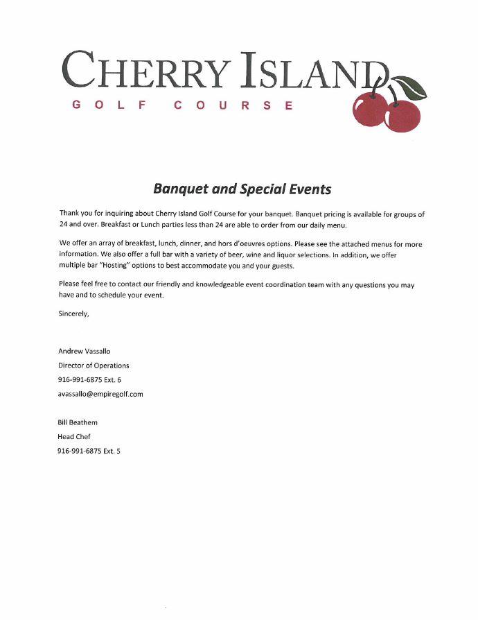 Banquet Menu And Rental Agreement